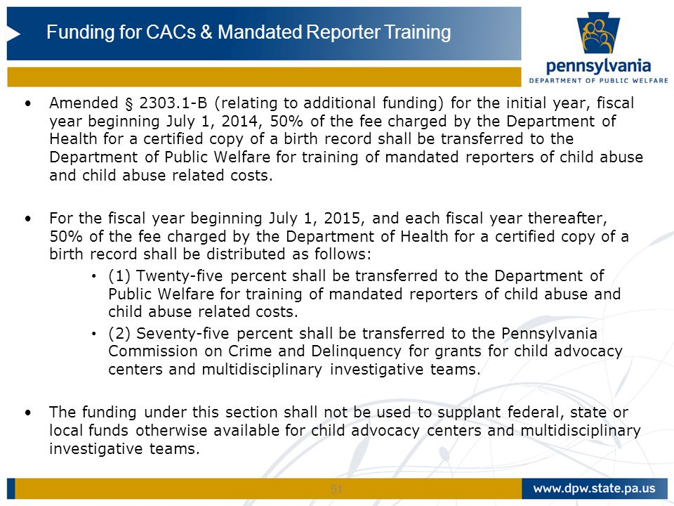 Funding for CACs & Mandated Reporter Training
