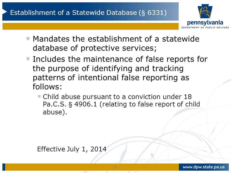 Establishment of a Statewide Database (§ 6331)