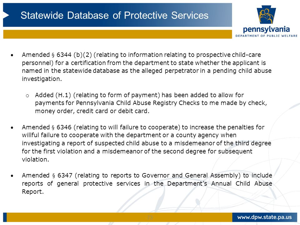 Statewide Database of Protective Services