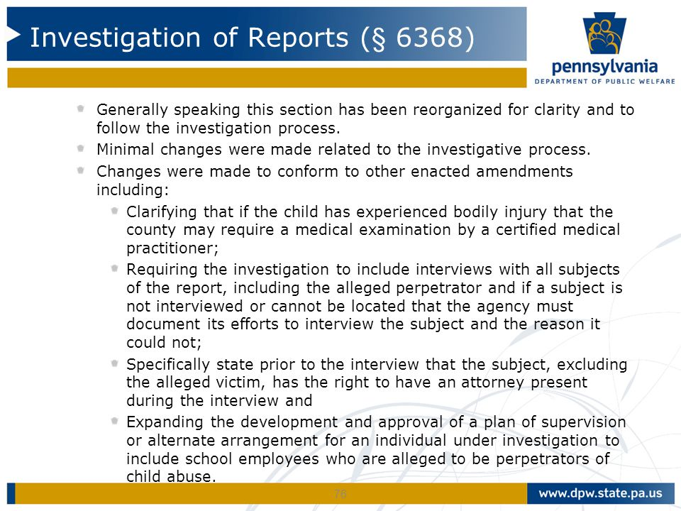 Investigation of Reports (§ 6368)