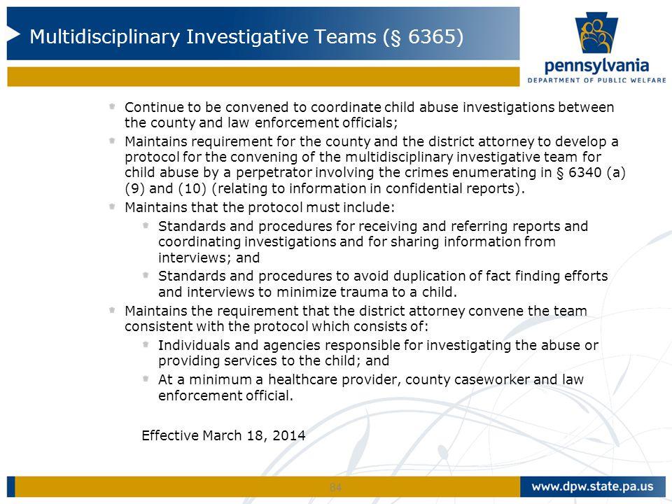 Multidisciplinary Investigative Teams (§ 6365)