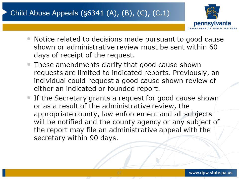 Child Abuse Appeals (§6341 (A), (B), (C), (C.1)