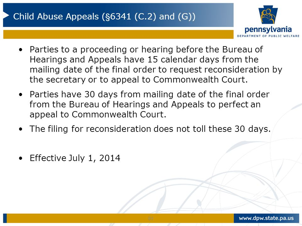 Child Abuse Appeals (§6341 (C.2) and (G))