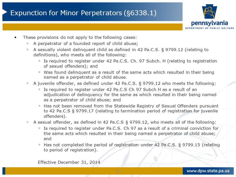 Expunction for Minor Perpetrators (§6338.1)