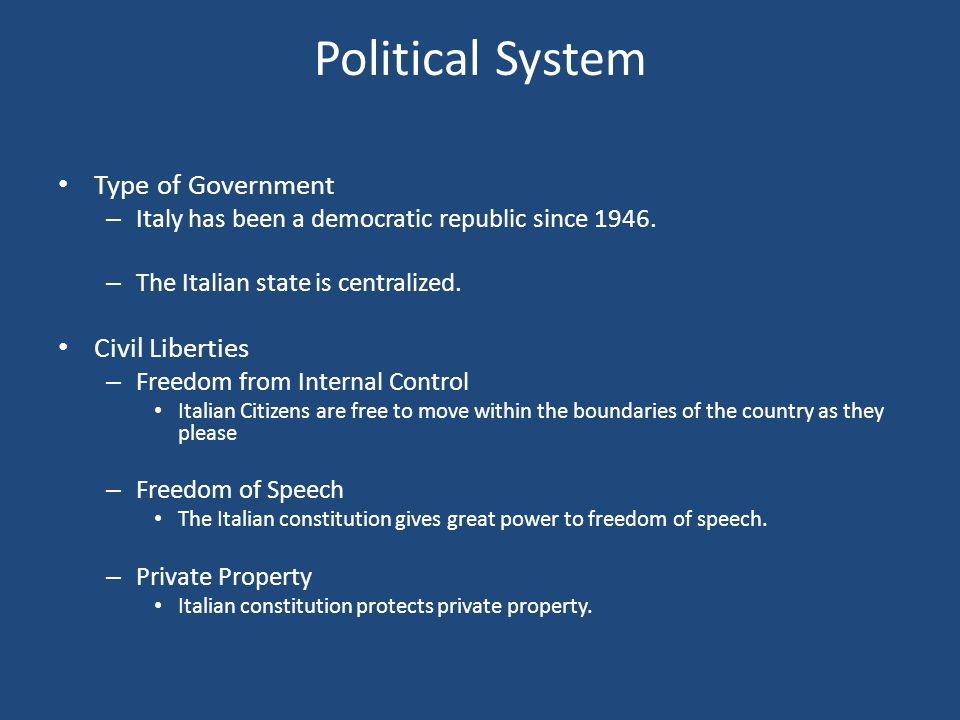 Political System Type of Government Civil Liberties