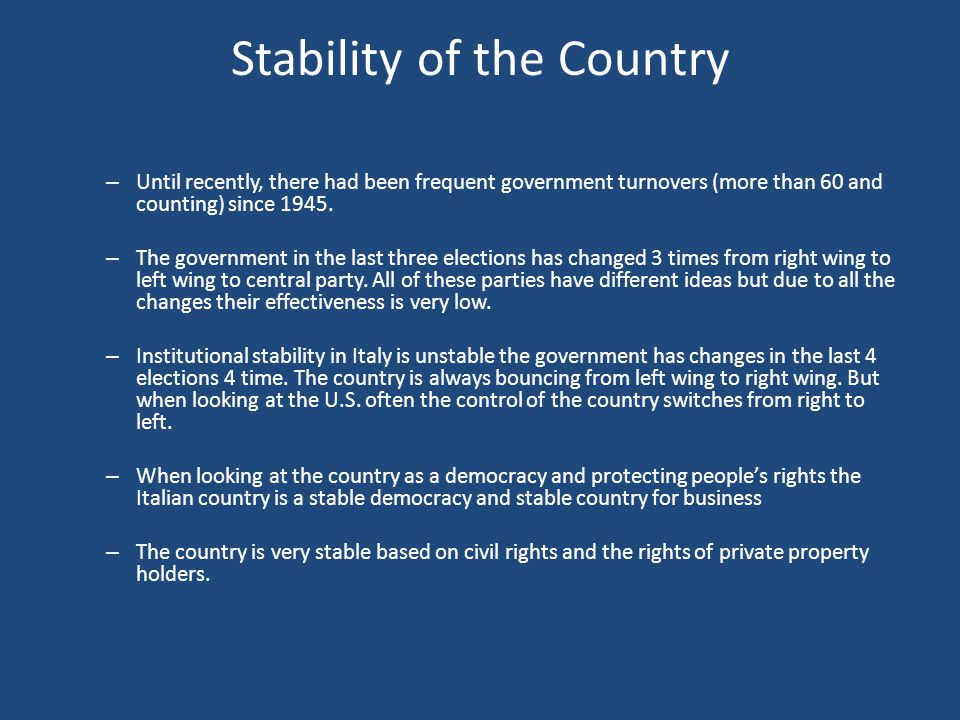 Stability of the Country