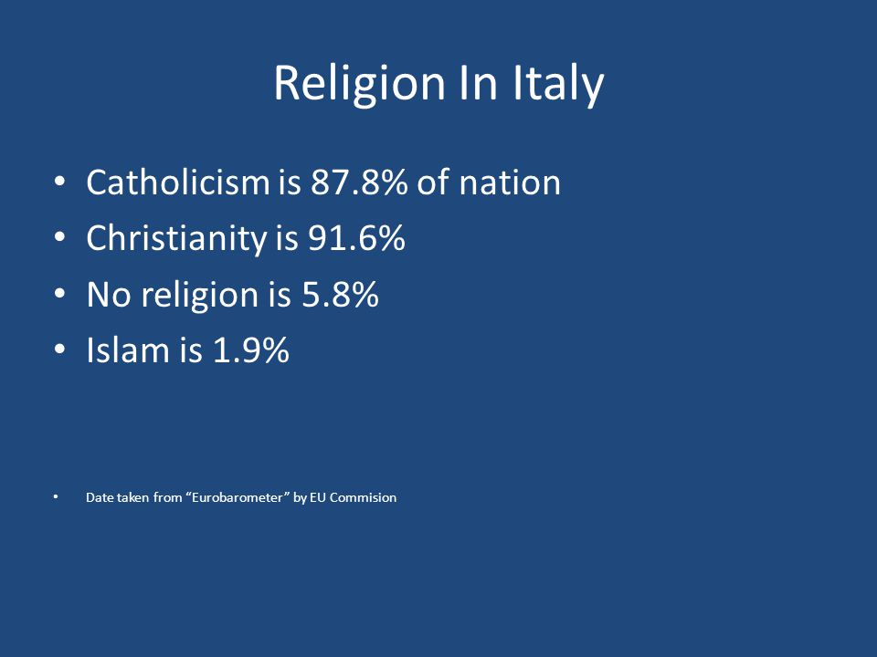 Religion In Italy Catholicism is 87.8% of nation Christianity is 91.6%