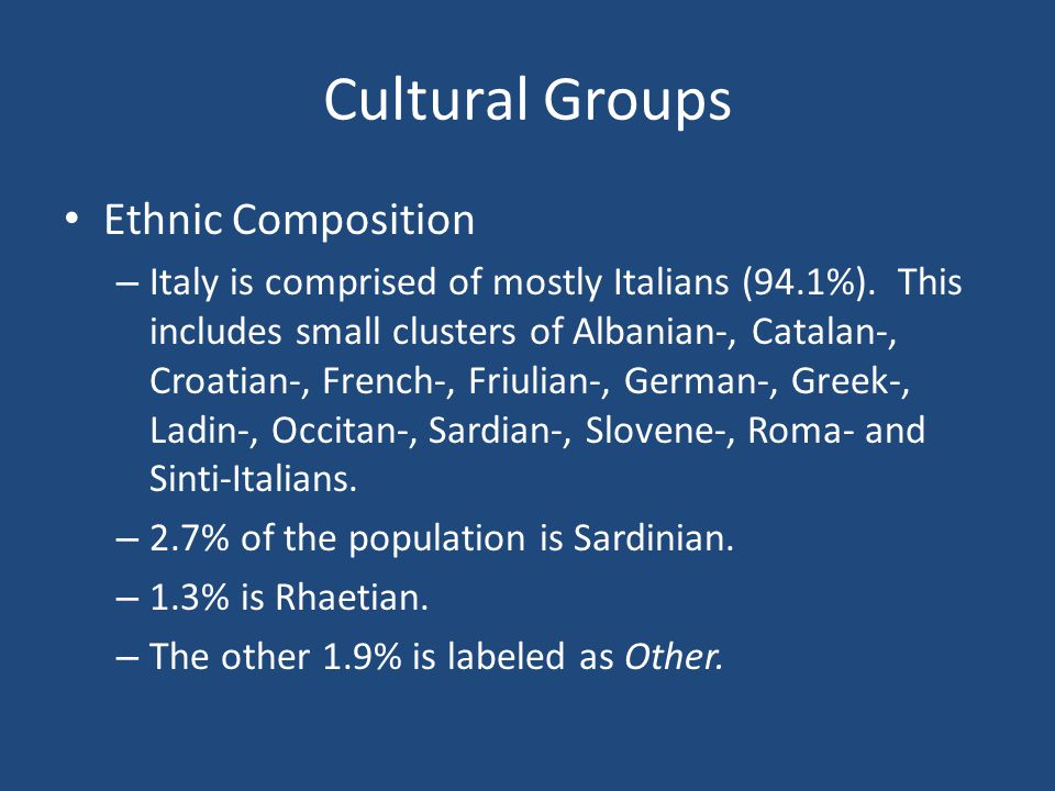 Cultural Groups Ethnic Composition