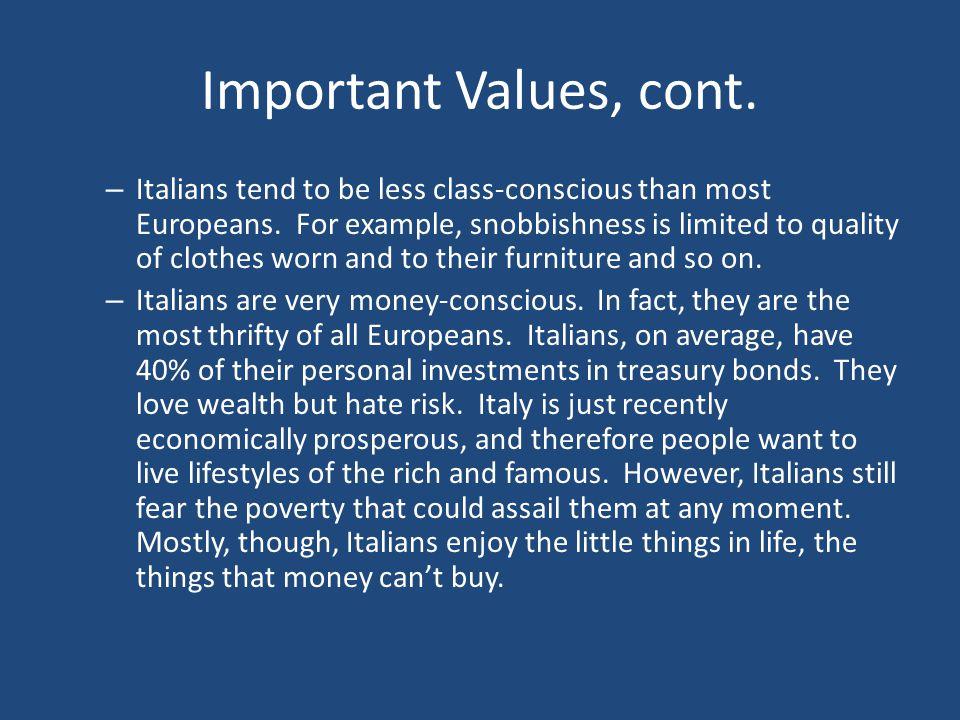 Important Values, cont.