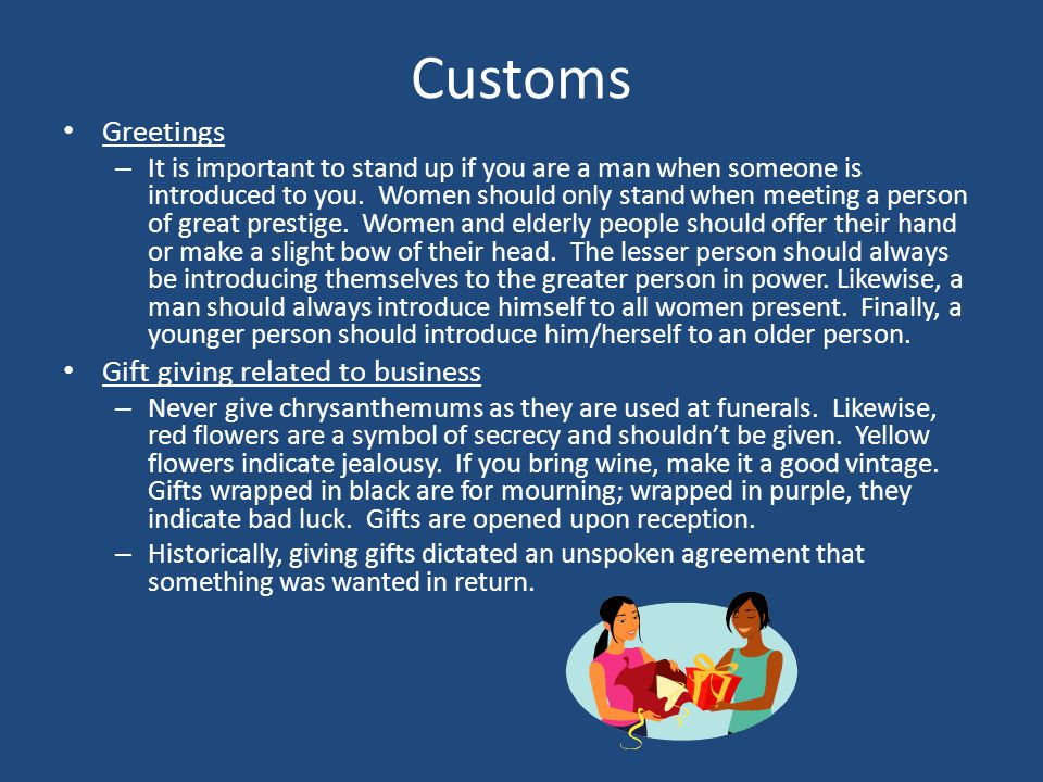 Customs Greetings Gift giving related to business