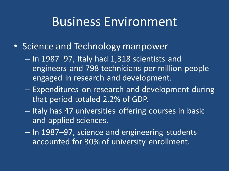 Business Environment Science and Technology manpower