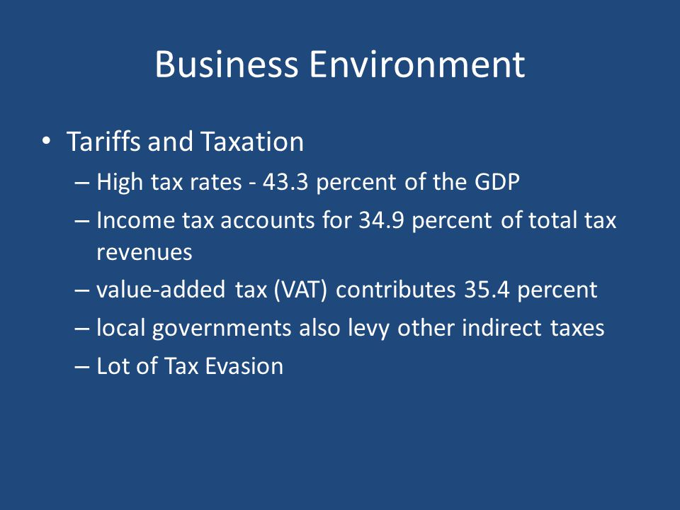 Business Environment Tariffs and Taxation