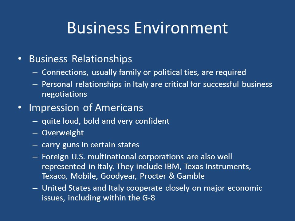 Business Environment Business Relationships Impression of Americans