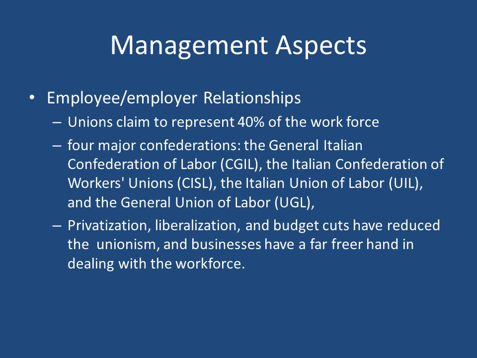Management Aspects Employee/employer Relationships
