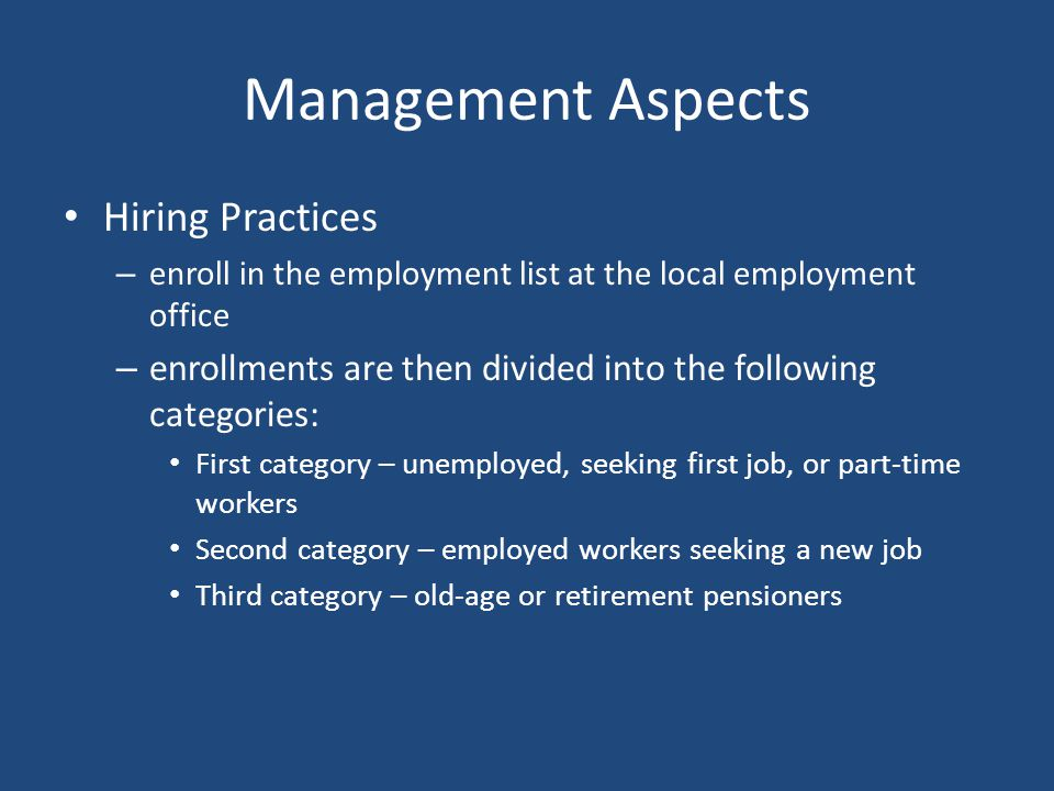 Management Aspects Hiring Practices