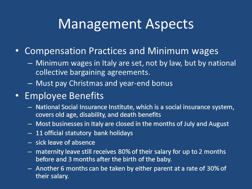 Management Aspects Compensation Practices and Minimum wages