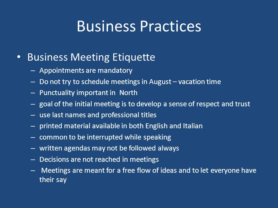 Business Practices Business Meeting Etiquette