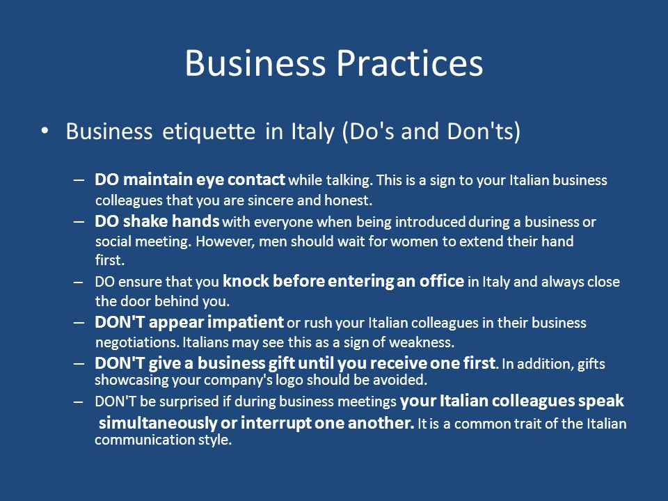 Business Practices Business etiquette in Italy (Do s and Don ts)