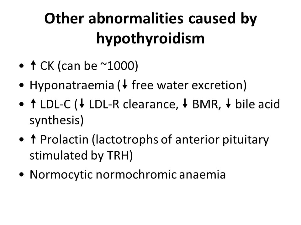 Other abnormalities caused by hypothyroidism