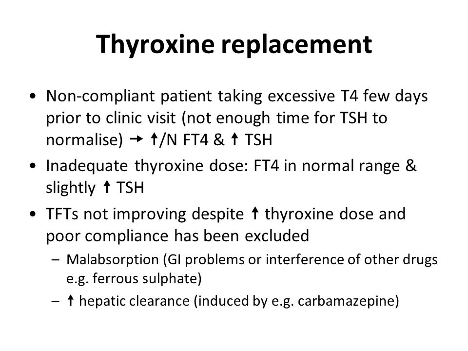 Thyroxine replacement