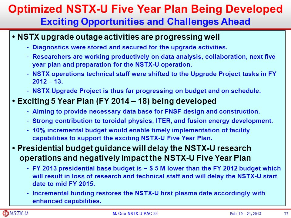 Optimized NSTX-U Five Year Plan Being Developed