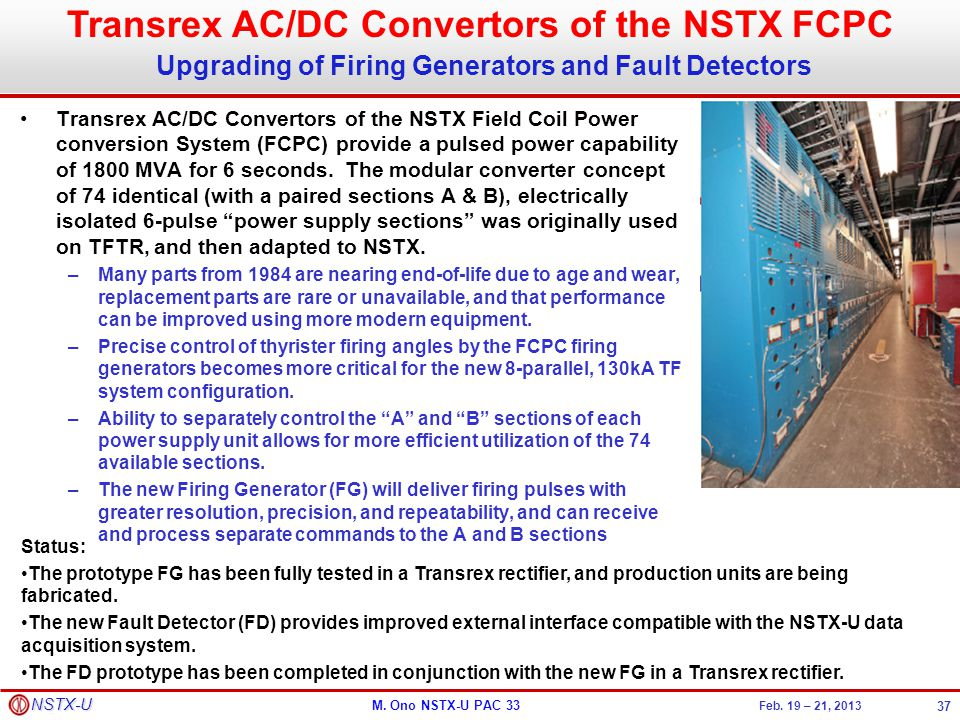 Transrex AC/DC Convertors of the NSTX FCPC Upgrading of Firing Generators and Fault Detectors