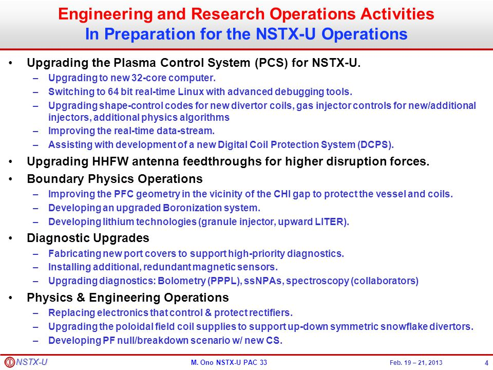 Engineering and Research Operations Activities