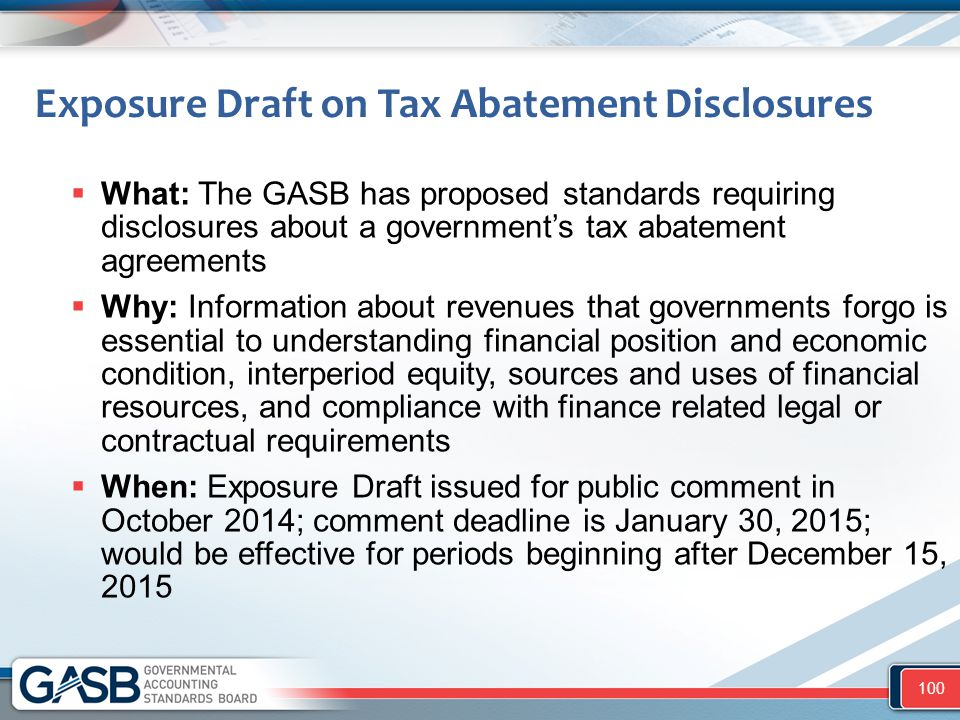Exposure Draft on Tax Abatement Disclosures