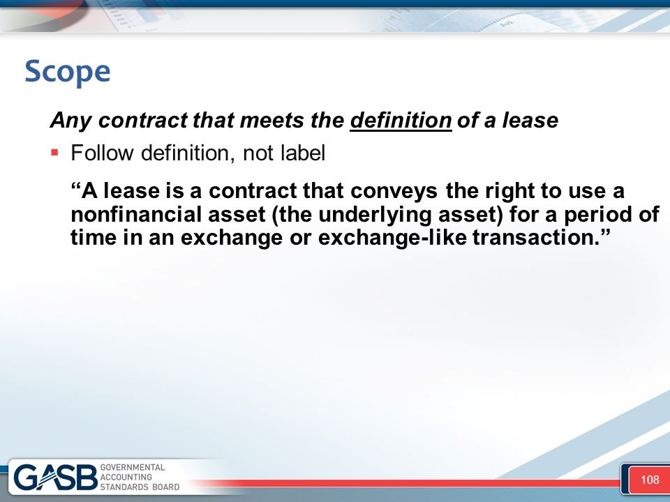 Scope Any contract that meets the definition of a lease