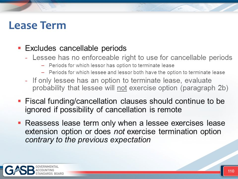 Lease Term Excludes cancellable periods