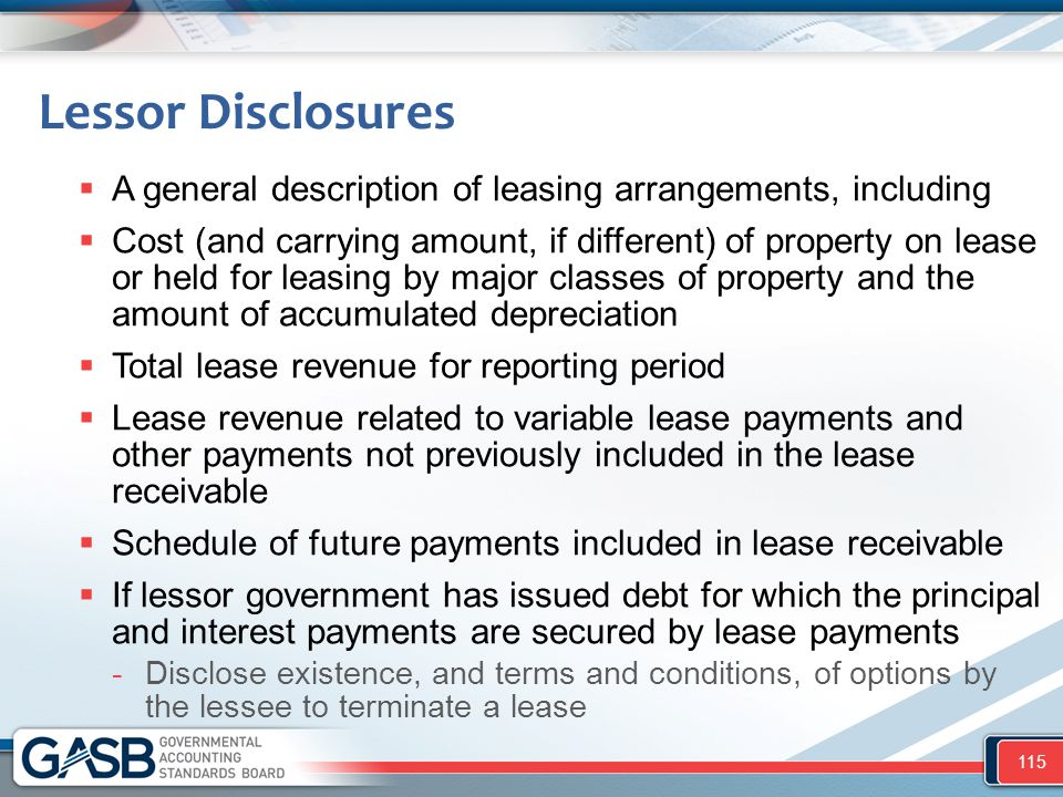 Lessor Disclosures A general description of leasing arrangements, including.