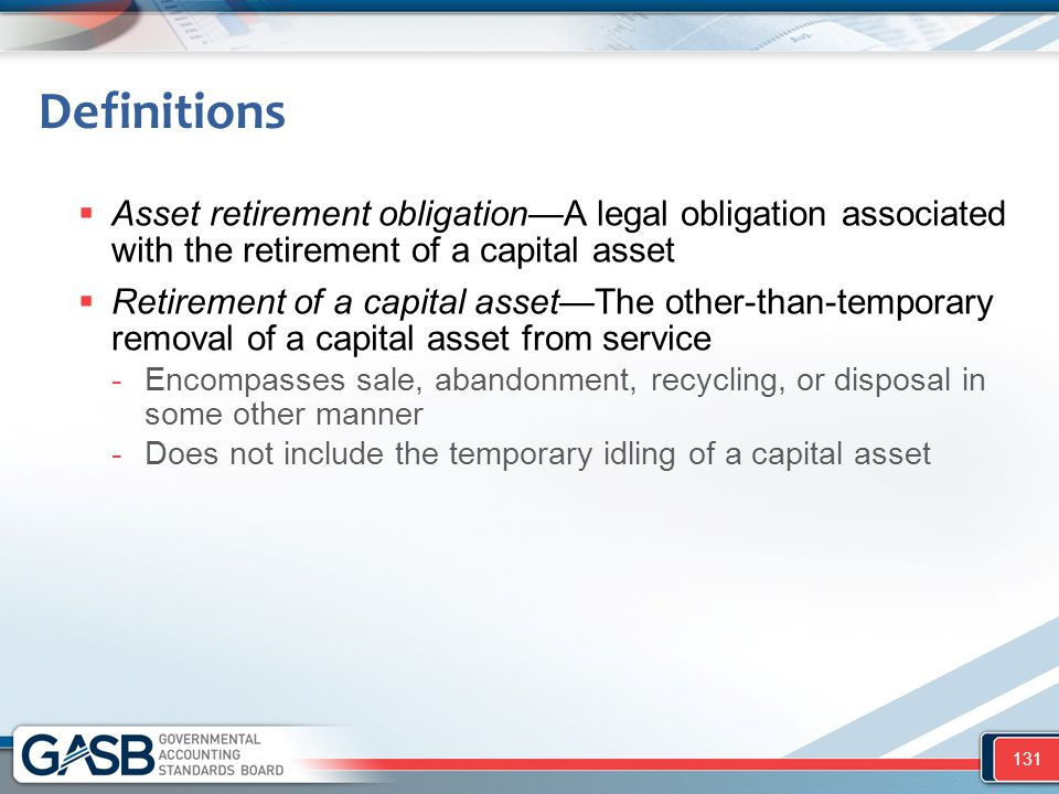 Definitions Asset retirement obligation—A legal obligation associated with the retirement of a capital asset.