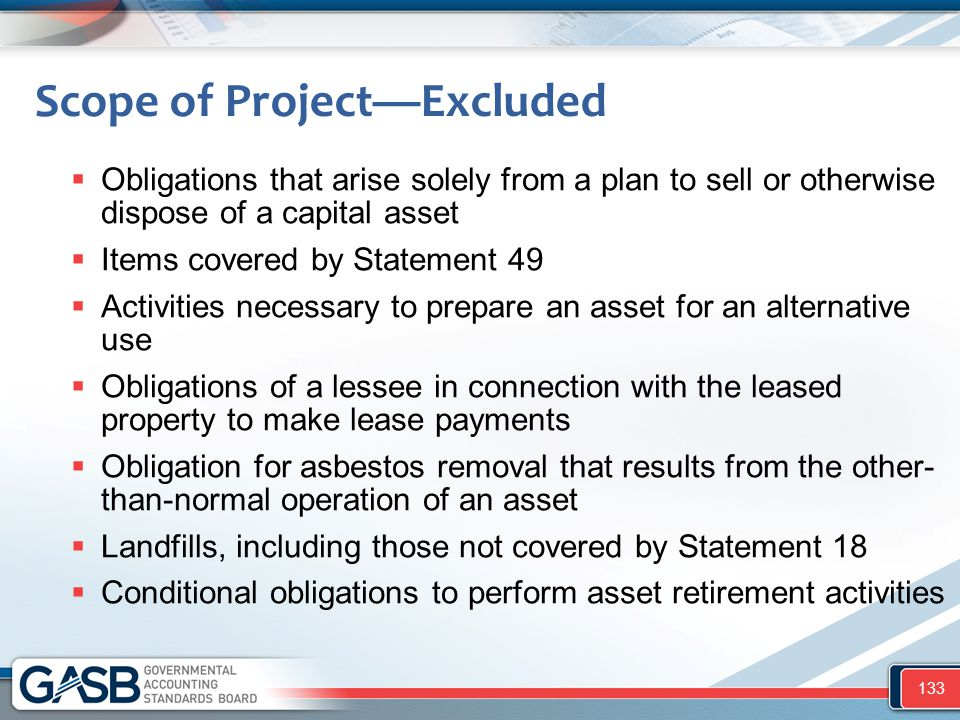 Scope of Project—Excluded