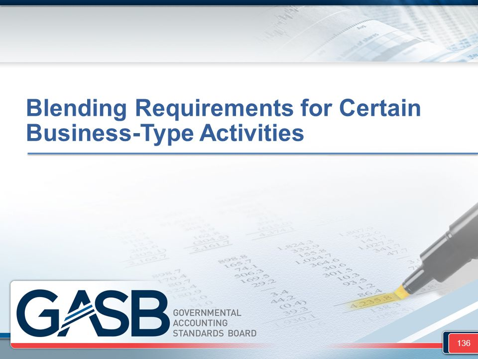 Blending Requirements for Certain Business-Type Activities