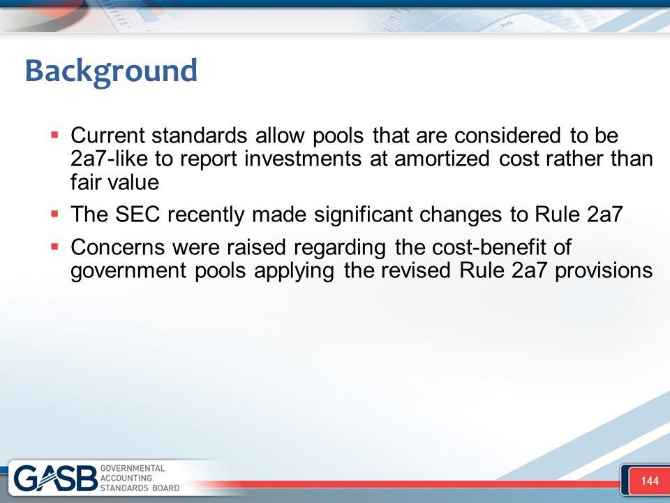 Background Current standards allow pools that are considered to be 2a7-like to report investments at amortized cost rather than fair value.