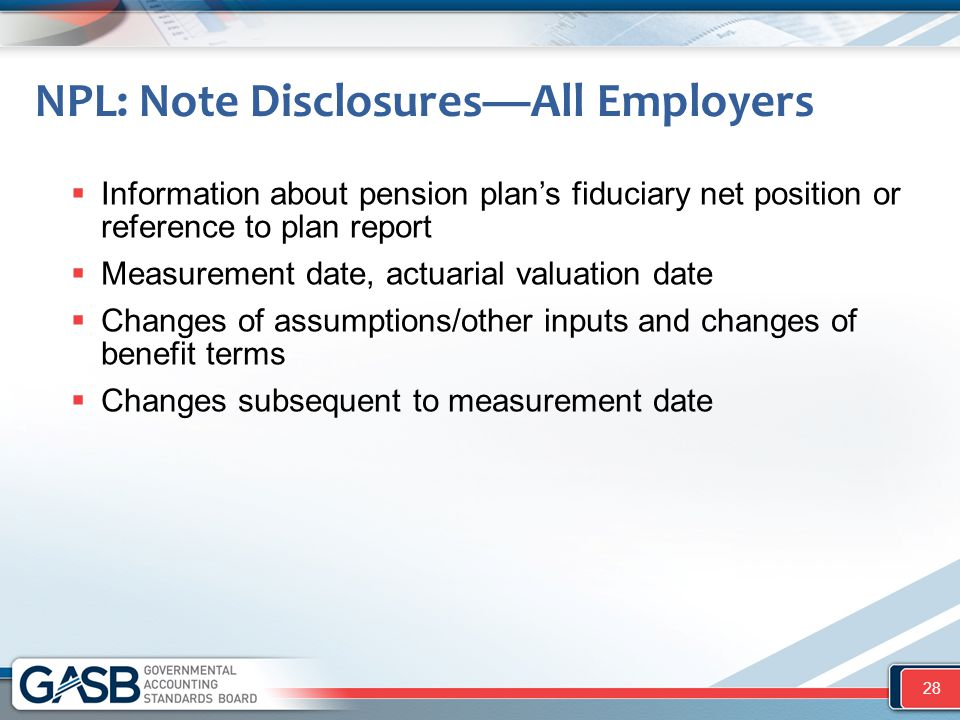 NPL: Note Disclosures—All Employers