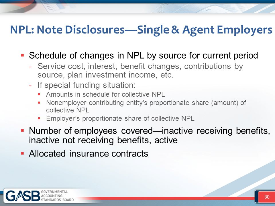 NPL: Note Disclosures—Single & Agent Employers