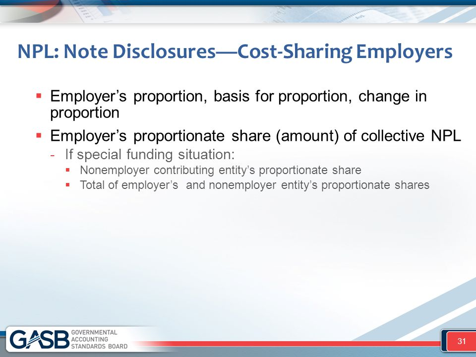 NPL: Note Disclosures—Cost-Sharing Employers