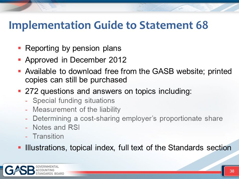 Implementation Guide to Statement 68
