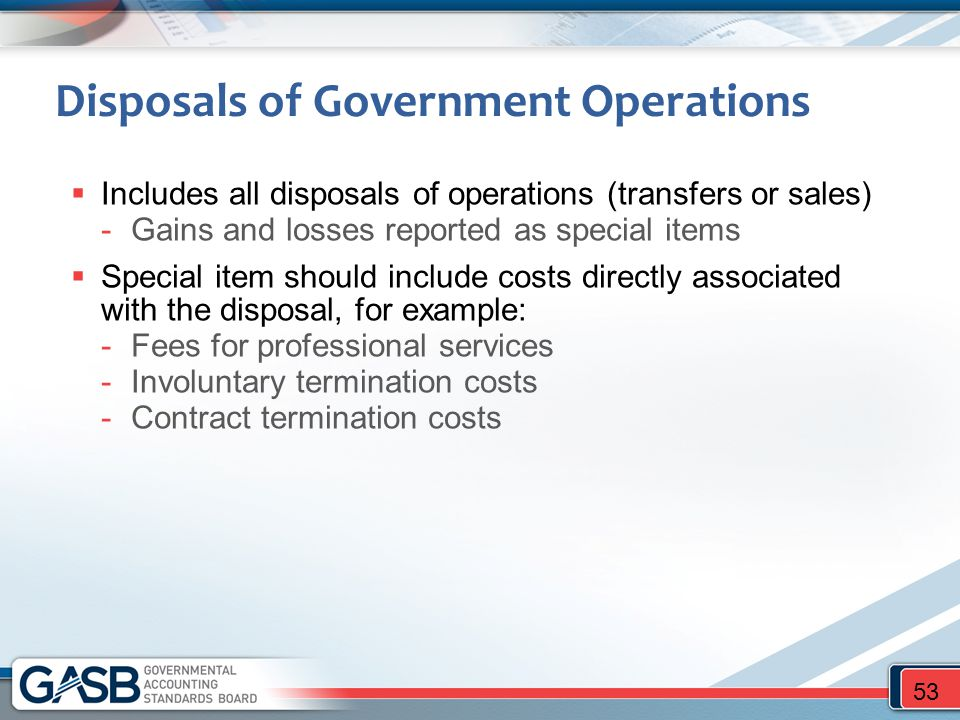 Disposals of Government Operations