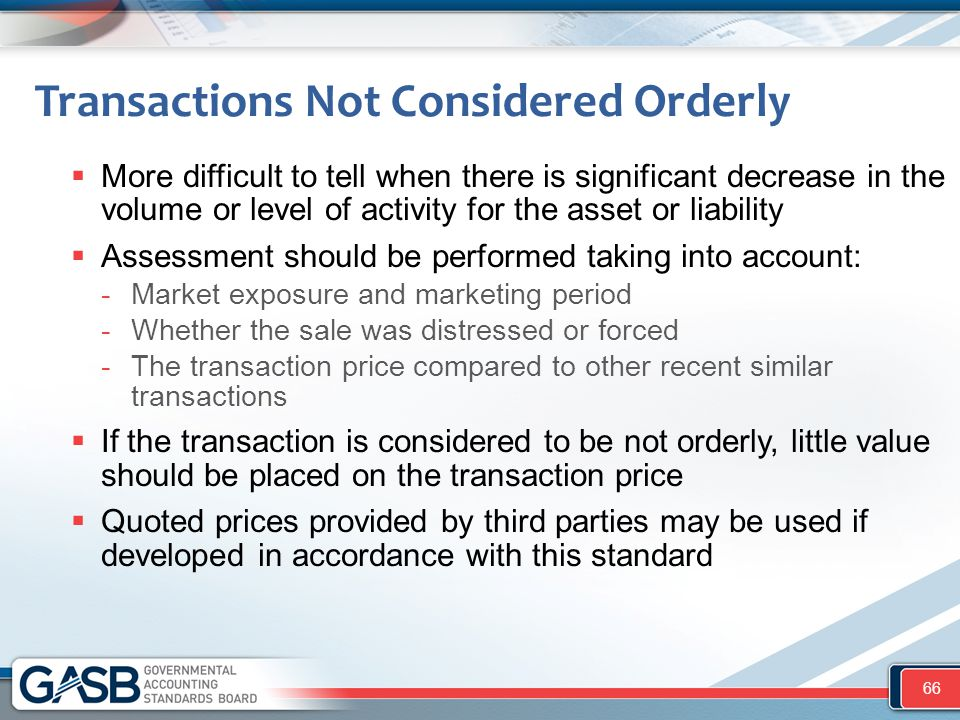 Transactions Not Considered Orderly