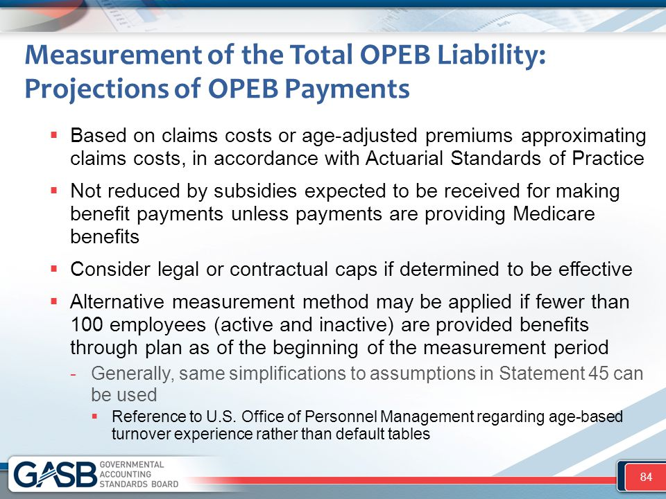 Measurement of the Total OPEB Liability: Projections of OPEB Payments