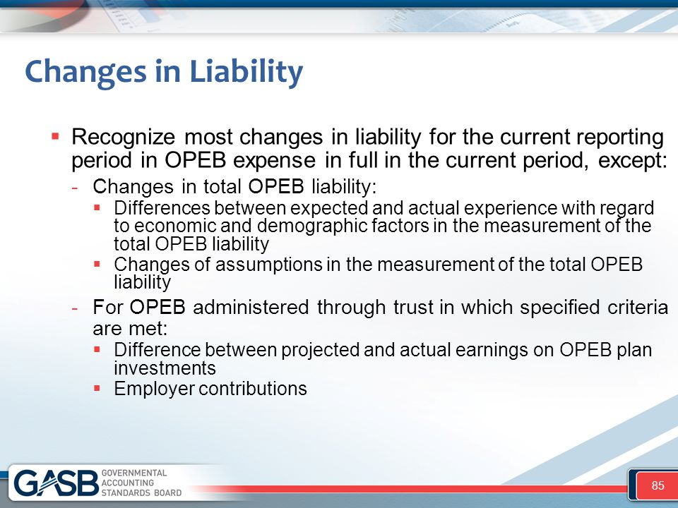 Changes in Liability Recognize most changes in liability for the current reporting period in OPEB expense in full in the current period, except: