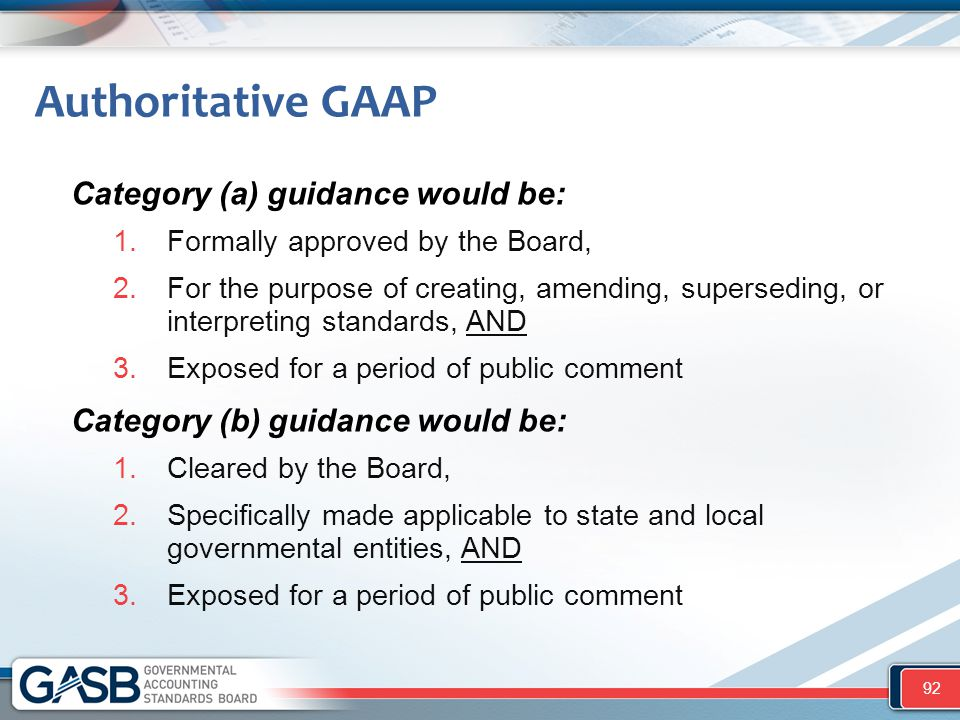 Authoritative GAAP Category (a) guidance would be: