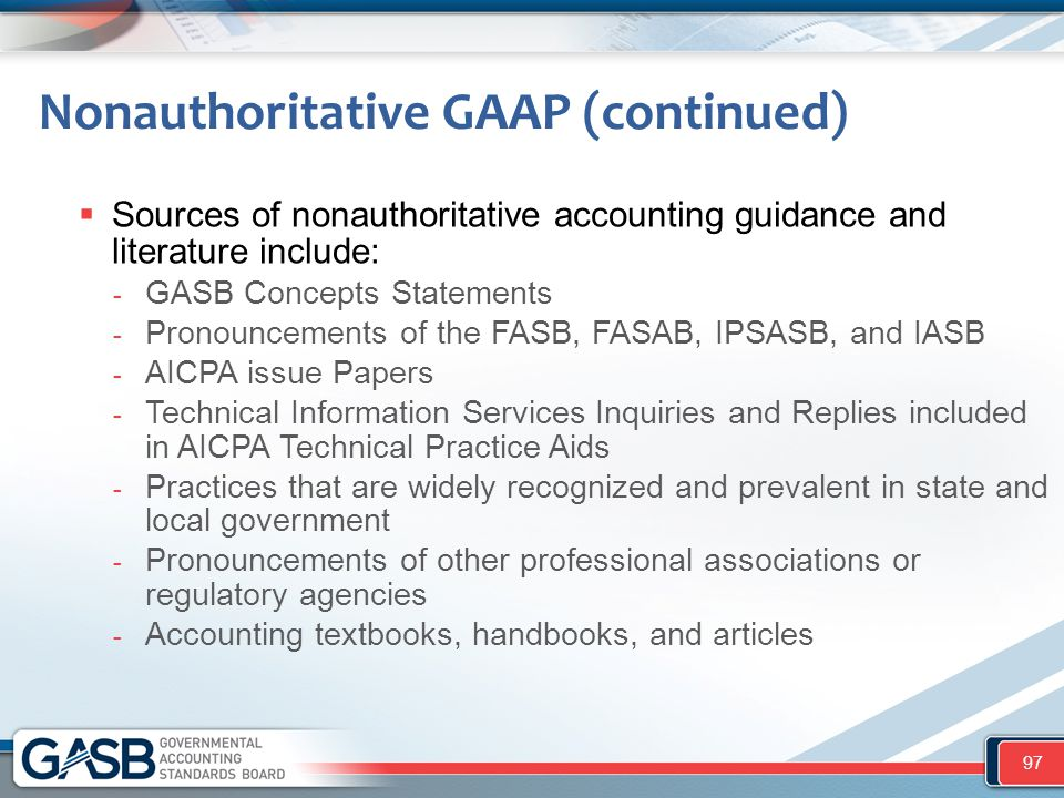Nonauthoritative GAAP (continued)