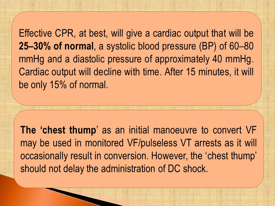 Effective CPR, at best, will give a cardiac output that will be 25–30% of normal, a systolic blood pressure (BP) of 60–80 mmHg and a diastolic pressure of approximately 40 mmHg. Cardiac output will decline with time. After 15 minutes, it will be only 15% of normal.