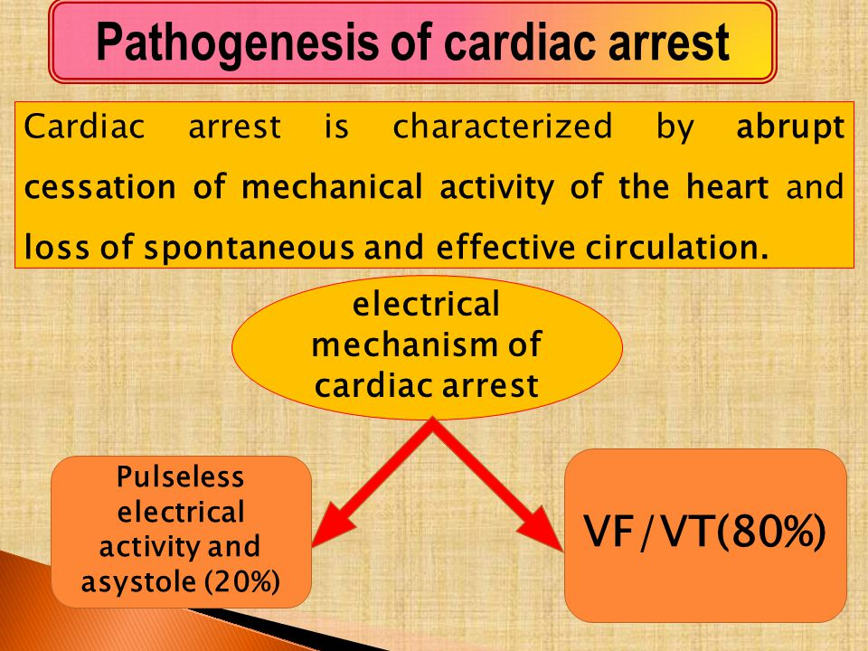 Pathogenesis of cardiac arrest