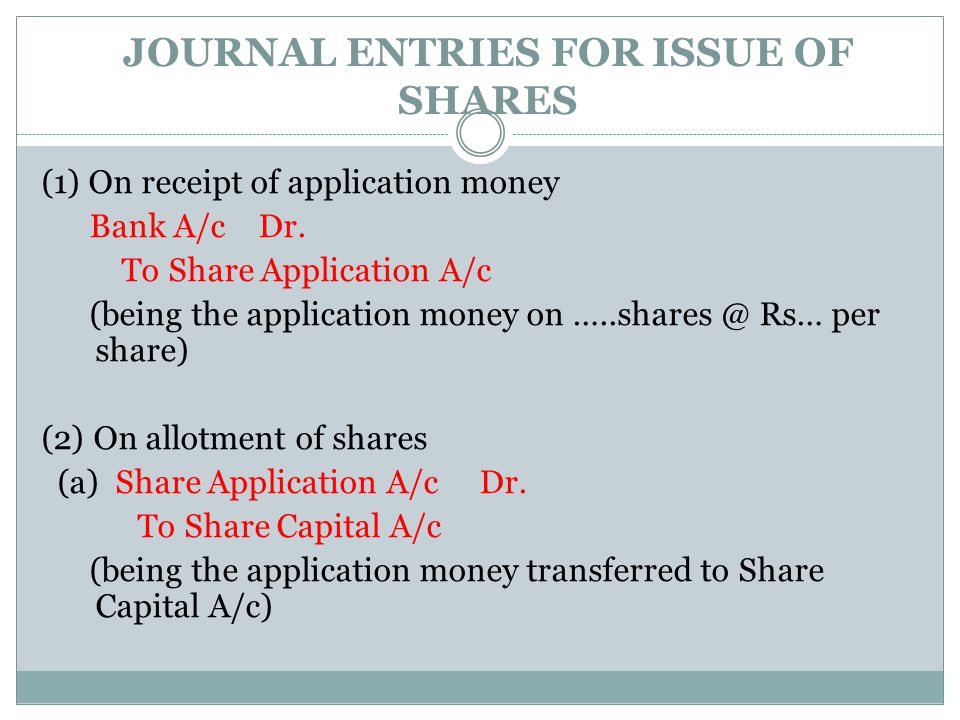 JOURNAL ENTRIES FOR ISSUE OF SHARES