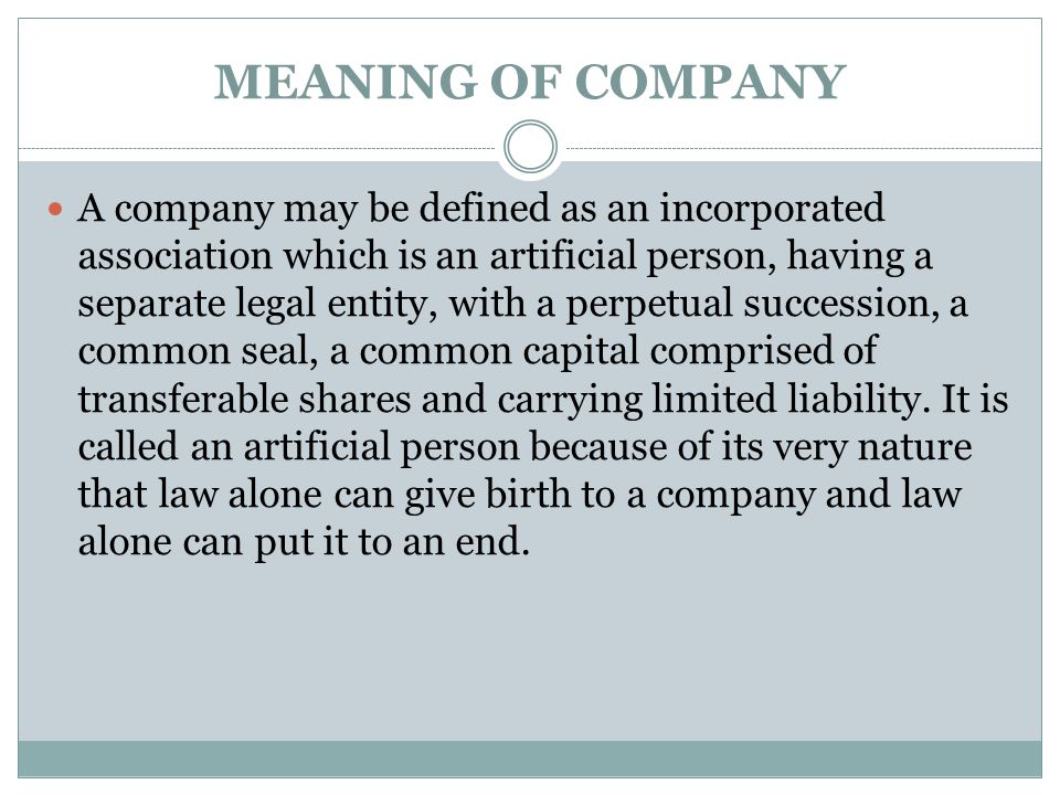 MEANING OF COMPANY