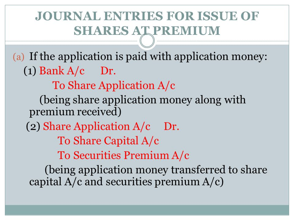 JOURNAL ENTRIES FOR ISSUE OF SHARES AT PREMIUM